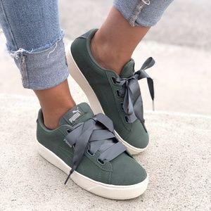 🆕PUMA Suede Vikky Platform Ribbon Lace Bow Green